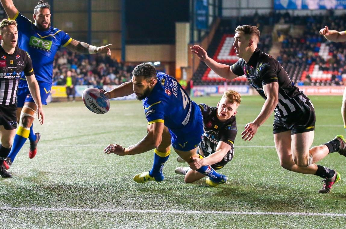 Atkins double gets Warrington their first win