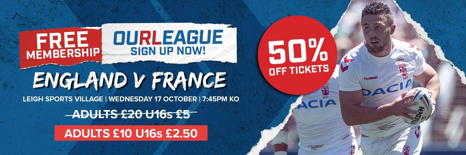 Our League England v France Offer Banner